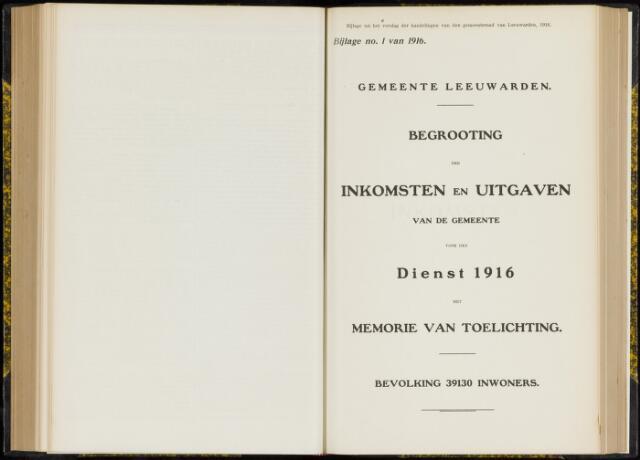 Raadsverslagen van de gemeente Leeuwarden, 1865-2007 (Bijlagen) 1916-01-01