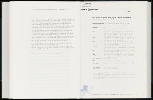 Raadsverslagen van de gemeente Leeuwarden, 1865-2007 (Notulen) 2002-10-21