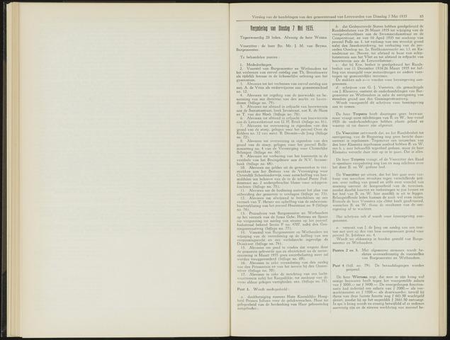 Raadsverslagen van de gemeente Leeuwarden, 1865-2007 (Notulen) 1935-05-07