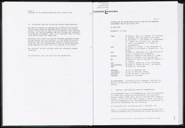 Raadsverslagen van de gemeente Leeuwarden, 1865-2007 (Notulen) 2007-05-21