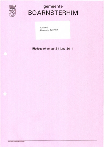 Boarnsterhim vergaderstukken gemeenteraad  2011-06-21