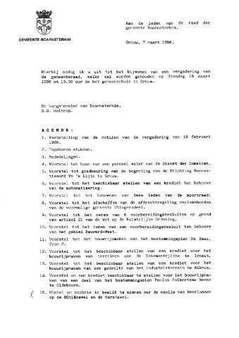Boarnsterhim vergaderstukken gemeenteraad  1986-03-18