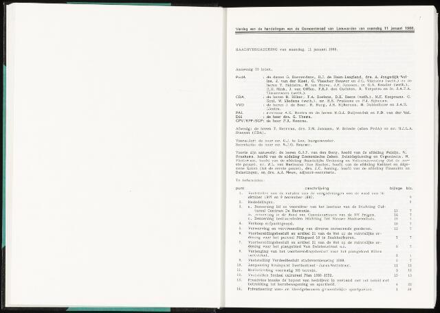 Raadsverslagen van de gemeente Leeuwarden, 1865-2007 (Notulen) 1988