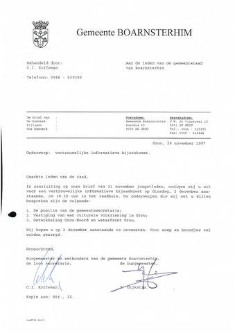 Boarnsterhim vergaderstukken gemeenteraad  1997-12-16
