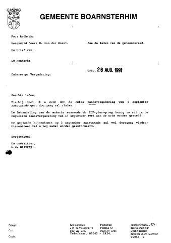 Boarnsterhim vergaderstukken gemeenteraad  1991-09-09