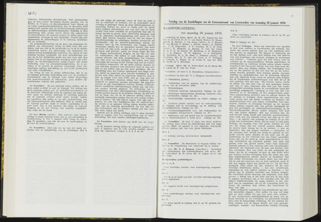 Raadsverslagen van de gemeente Leeuwarden, 1865-2007 (Notulen) 1970-01-26