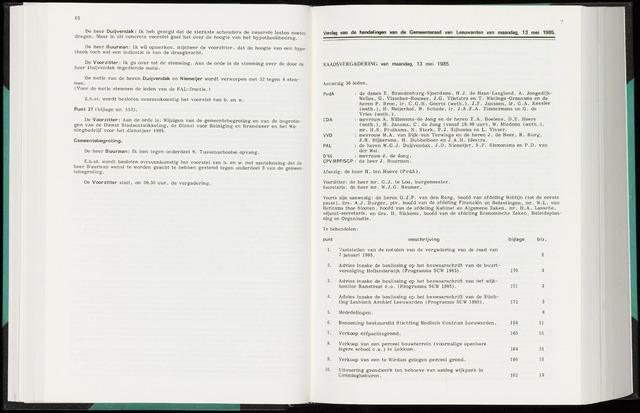 Raadsverslagen van de gemeente Leeuwarden, 1865-2007 (Notulen) 1985-05-13