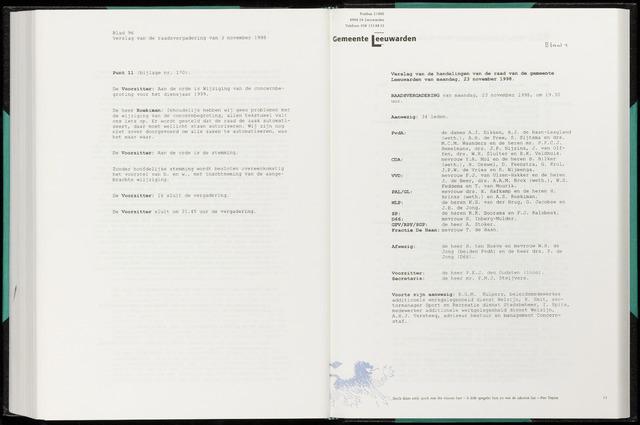 Raadsverslagen van de gemeente Leeuwarden, 1865-2007 (Notulen) 1998-11-23