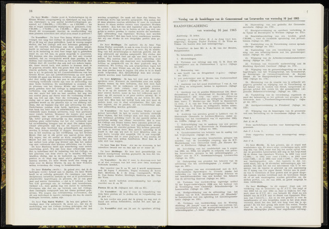 Raadsverslagen van de gemeente Leeuwarden, 1865-2007 (Notulen) 1965-06-16