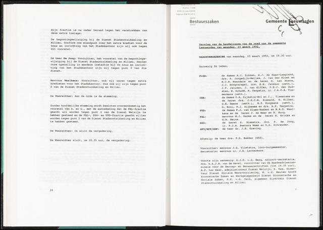 Raadsverslagen van de gemeente Leeuwarden, 1865-2007 (Notulen) 1992-03-23