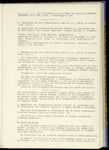 Notulen van de gemeenteraad van Leeuwarderadeel 1950-05-17
