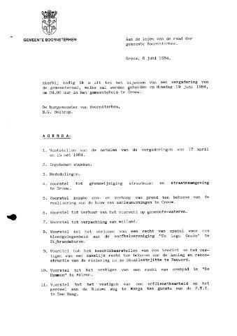 Boarnsterhim vergaderstukken gemeenteraad  1984-07-19