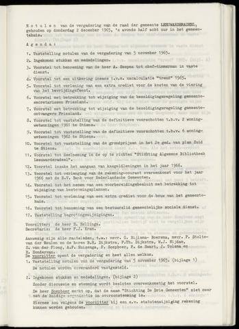 Notulen van de gemeenteraad van Leeuwarderadeel 1965-12-02