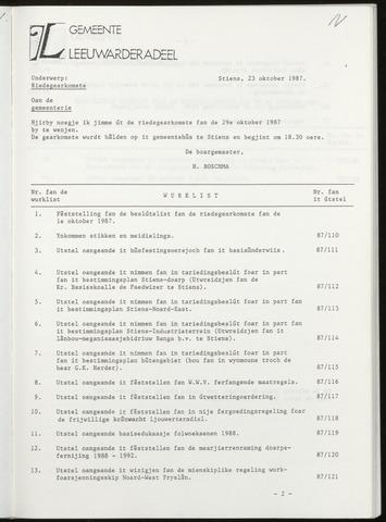 Notulen van de gemeenteraad van Leeuwarderadeel 1987-10-29