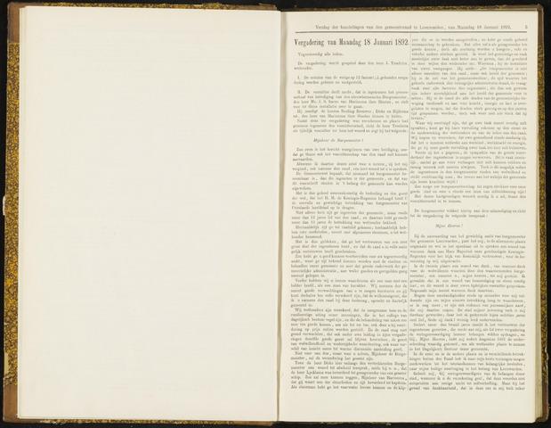 Raadsverslagen van de gemeente Leeuwarden, 1865-2007 (Notulen) 1892-01-18