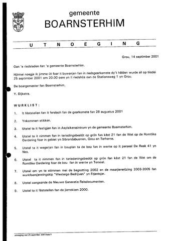 Boarnsterhim vergaderstukken gemeenteraad  2001-09-25