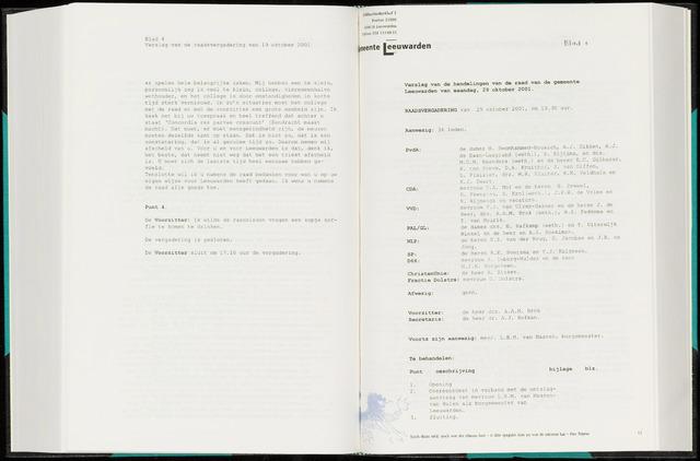 Raadsverslagen van de gemeente Leeuwarden, 1865-2007 (Notulen) 2001-10-29