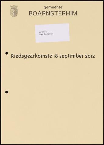 Boarnsterhim vergaderstukken gemeenteraad  2012-09-18