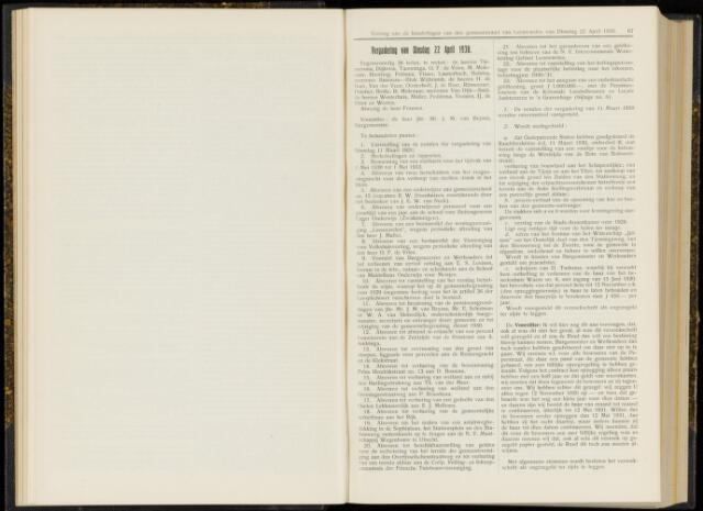 Raadsverslagen van de gemeente Leeuwarden, 1865-2007 (Notulen) 1930-04-22