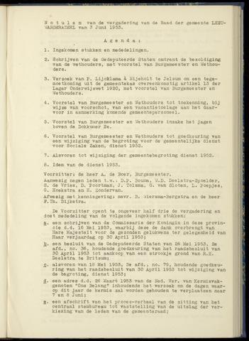 Notulen van de gemeenteraad van Leeuwarderadeel 1953-06-03