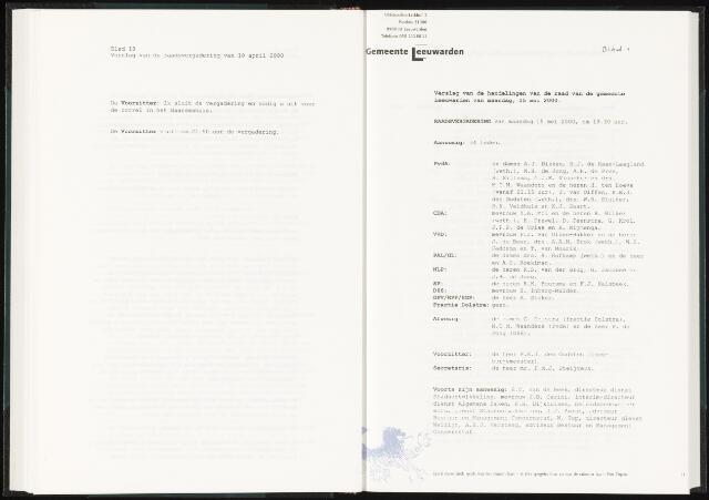 Raadsverslagen van de gemeente Leeuwarden, 1865-2007 (Notulen) 2000-05-15