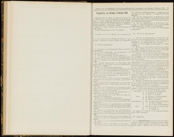 Raadsverslagen van de gemeente Leeuwarden, 1865-2007 (Notulen) 1909-02-09