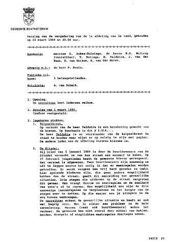 Boarnsterhim vergaderstukken gemeenteraad  1989-03-22