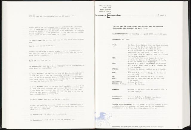 Raadsverslagen van de gemeente Leeuwarden, 1865-2007 (Notulen) 1999-04-12