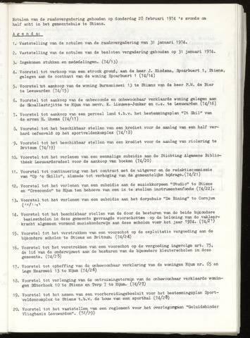 Notulen van de gemeenteraad van Leeuwarderadeel 1974-02-28