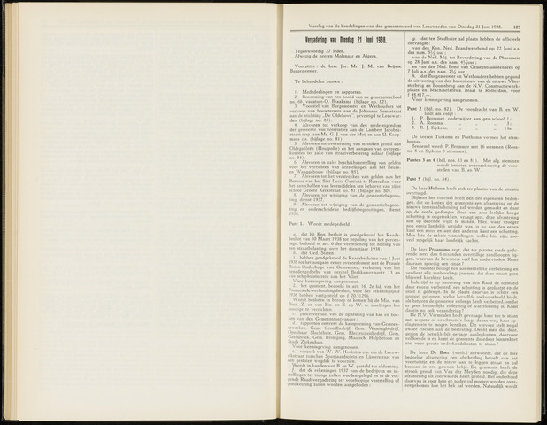 Raadsverslagen van de gemeente Leeuwarden, 1865-2007 (Notulen) 1938-06-21