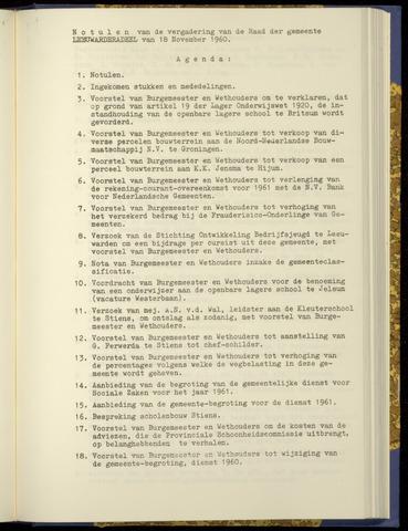 Notulen van de gemeenteraad van Leeuwarderadeel 1960-11-18