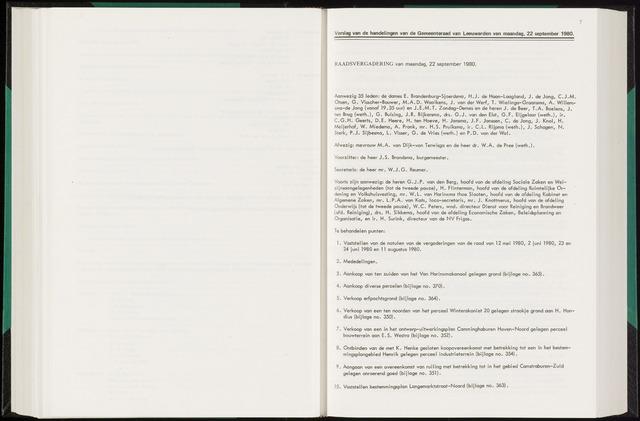 Raadsverslagen van de gemeente Leeuwarden, 1865-2007 (Notulen) 1980-09-22