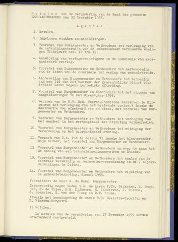 Notulen van de gemeenteraad van Leeuwarderadeel 1955-12-22
