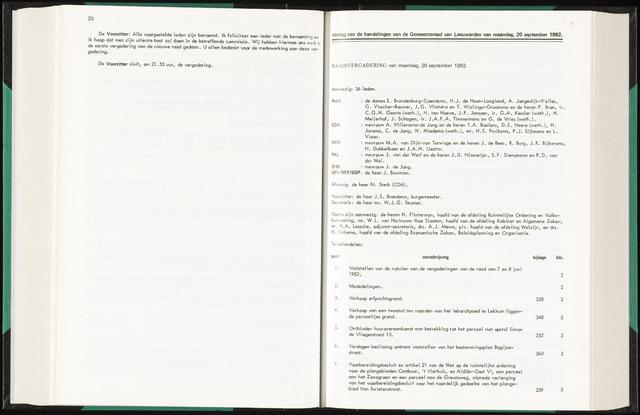 Raadsverslagen van de gemeente Leeuwarden, 1865-2007 (Notulen) 1982-09-20