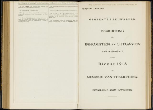Raadsverslagen van de gemeente Leeuwarden, 1865-2007 (Bijlagen) 1918-01-01