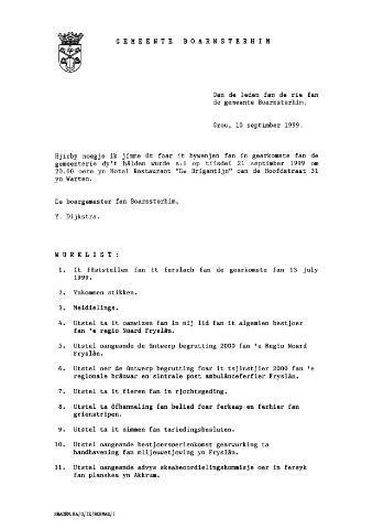 Boarnsterhim vergaderstukken gemeenteraad  1999-09-21