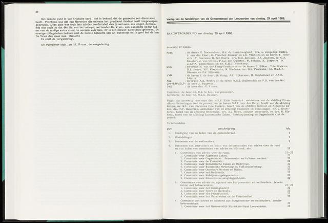 Raadsverslagen van de gemeente Leeuwarden, 1865-2007 (Notulen) 1986-04-29