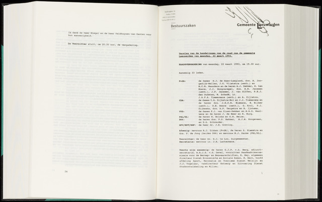 Raadsverslagen van de gemeente Leeuwarden, 1865-2007 (Notulen) 1993-03-22
