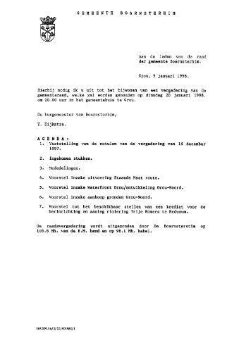 Boarnsterhim vergaderstukken gemeenteraad  1998-01-20