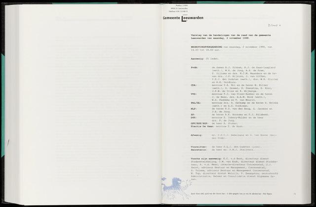 Raadsverslagen van de gemeente Leeuwarden, 1865-2007 (Notulen) 1998-11-02