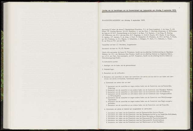 Raadsverslagen van de gemeente Leeuwarden, 1865-2007 (Notulen) 1978-09-05
