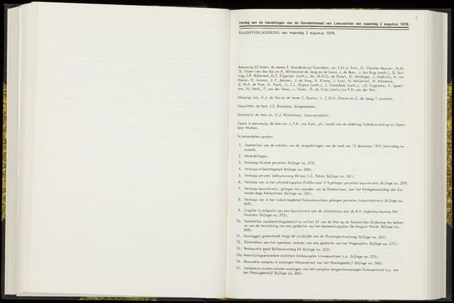 Raadsverslagen van de gemeente Leeuwarden, 1865-2007 (Notulen) 1976-08-02