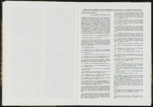 Raadsverslagen van de gemeente Leeuwarden, 1865-2007 (Notulen) 1974-02-18