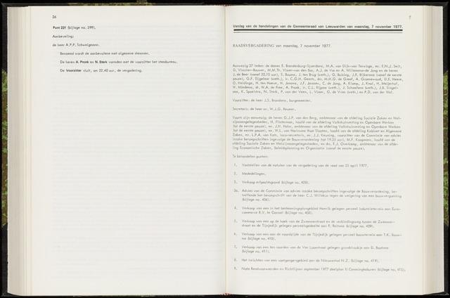 Raadsverslagen van de gemeente Leeuwarden, 1865-2007 (Notulen) 1977-11-07