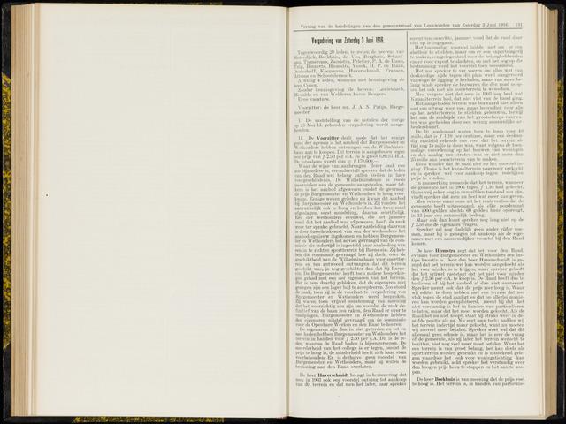 Raadsverslagen van de gemeente Leeuwarden, 1865-2007 (Notulen) 1916-06-03
