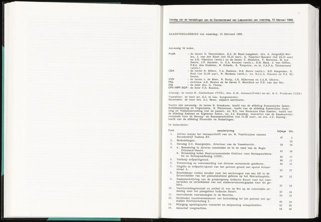 Raadsverslagen van de gemeente Leeuwarden, 1865-2007 (Notulen) 1988-02-15
