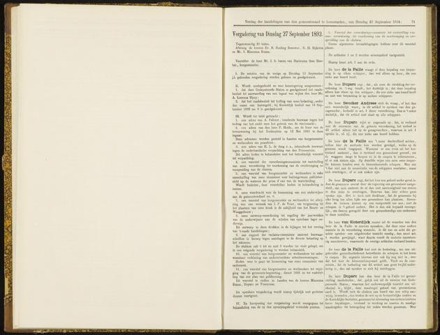 Raadsverslagen van de gemeente Leeuwarden, 1865-2007 (Notulen) 1892-09-27