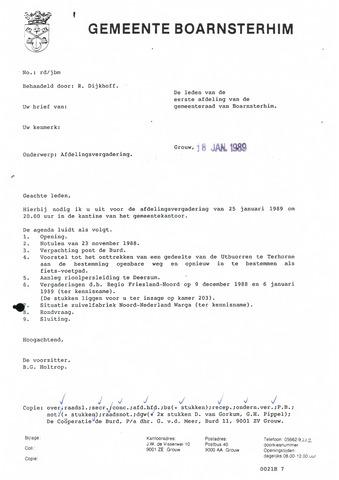 Boarnsterhim vergaderstukken gemeenteraad  1989-01-25