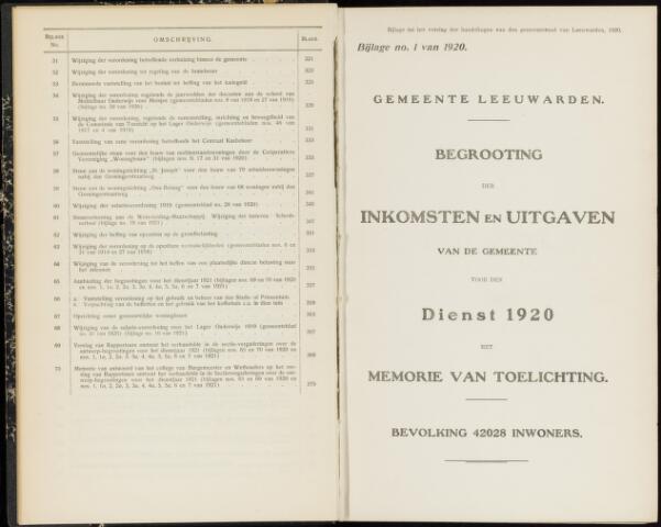 Raadsverslagen van de gemeente Leeuwarden, 1865-2007 (Bijlagen) 1920-01-01