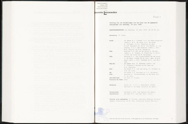 Raadsverslagen van de gemeente Leeuwarden, 1865-2007 (Notulen) 1999-06-14